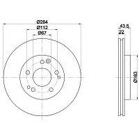 Тормозные диски Mercedes E-Class E300 4-matic W124 (передние, Meyle, D284)