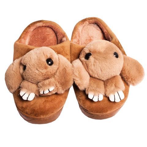 Тапочки детские домашние в виде зайчиков «Fashion» (32-33 / Светло-коричневый)
