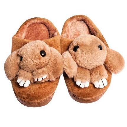 Тапочки детские домашние в виде зайчиков «Fashion» (32-33 / Светло-коричневый), фото 2