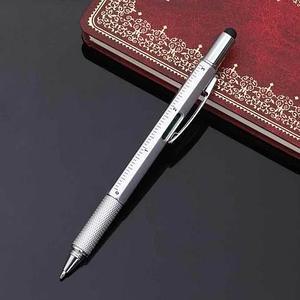 Мультитул-ручка 6 в 1 TOMTOSH [шариковая ручка-2 отвертки-стилус-уровень-линейка] (Серый)