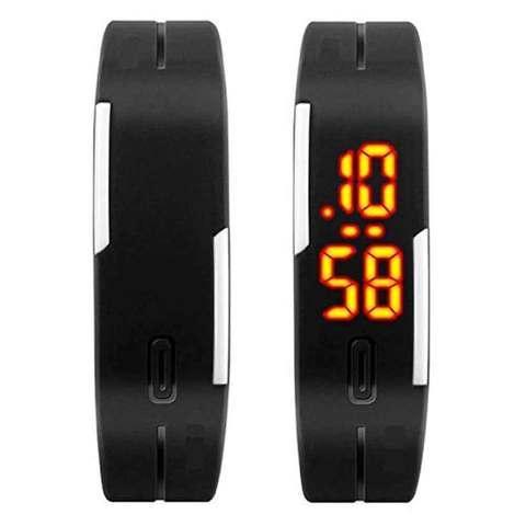 Часы-браслет электронные водонепроницаемые с LED-подсветкой (Черный)
