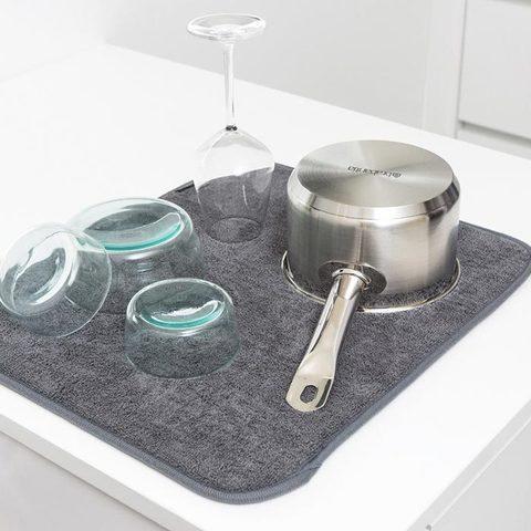 Коврик для сушки посуды из микрофибры (25х40 см / С разноцветным принтом)