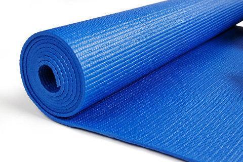 Коврик для занятий йогой и фитнесом трехслойный YOGA MAT [6 мм; 1 кг] (Синий), фото 2