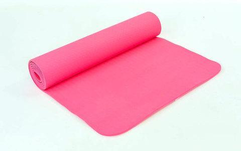 Коврик для занятий йогой и фитнесом трехслойный YOGA MAT [6 мм; 1 кг] (Розовый)