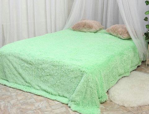 Плед-покрывало с длинным ворсом «Травка» Blumarine (Светло-зеленый), фото 2