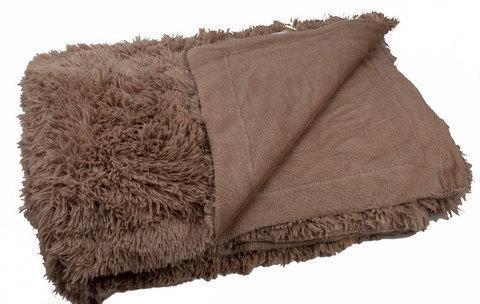 Плед-покрывало с длинным ворсом «Травка» Blumarine (Серо-коричневый), фото 2