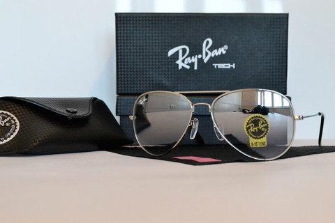 Очки солнцезащитные Aviator Ray-Ban (Серебристая оправа/зеркальные линзы)