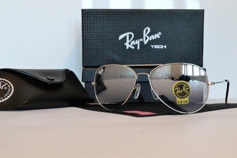 Очки солнцезащитные Aviator Ray-Ban (Серебристая оправа/зеркальные линзы), фото 2
