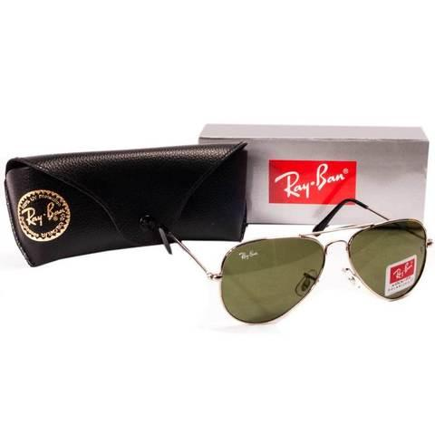 Очки солнцезащитные Aviator Ray-Ban (Серебристая оправа/серо-зеленые линзы)