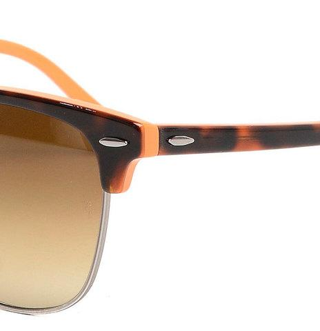 Очки солнцезащитные Clubmaster Ray-Ban (Коричневая оправа с вкраплениями/серо-зеленые линзы)