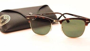Очки солнцезащитные Clubmaster Ray-Ban (Коричневая оправа с вкраплениями/серо-зеленые линзы), фото 2