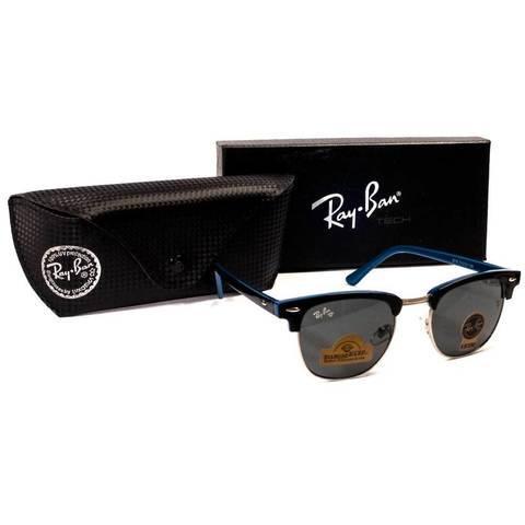 Очки солнцезащитные Clubmaster Ray-Ban (Черно-синяя оправа/серо-голубые линзы)