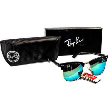 Очки солнцезащитные Clubmaster Ray-Ban (Черная матовая оправа/ серо-голубые линзы), фото 2