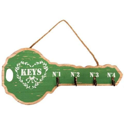 Ключница декоративная настенная «Большой ключ» (Зеленый)