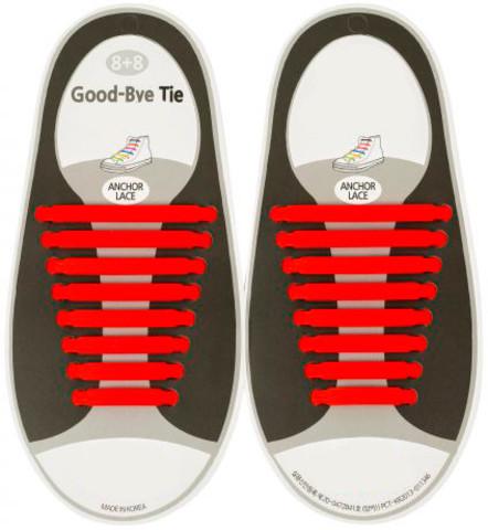 Шнурки силиконовые Good-Bye Tie {8+8} (Красный)