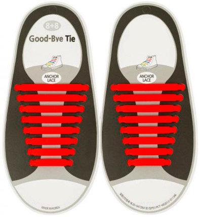 Шнурки силиконовые Good-Bye Tie {8+8} (Красный), фото 2