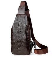 Мужская сумка-рюкзак через плечо Alligator (Шоколад)