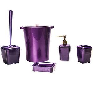 Набор аксессуаров для ванной комнаты 5 в 1 VIOLET house (Бордовый)