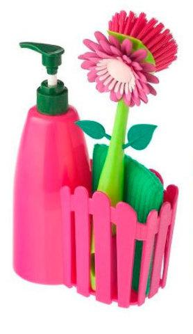 Набор для мытья посуды FLOWER FENCE BRUSH (Розовый)