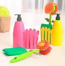 Набор для мытья посуды FLOWER FENCE BRUSH (Розовый), фото 2