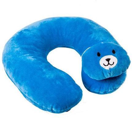Подушка-подголовник дорожная для детей KANGSHENG (Синий медвежонок), фото 2