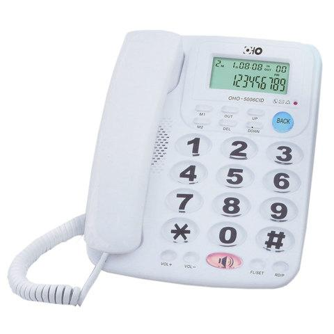 Телефонный аппарат с крупными кнопками и громкой связью OHO 5006CID (Белый)