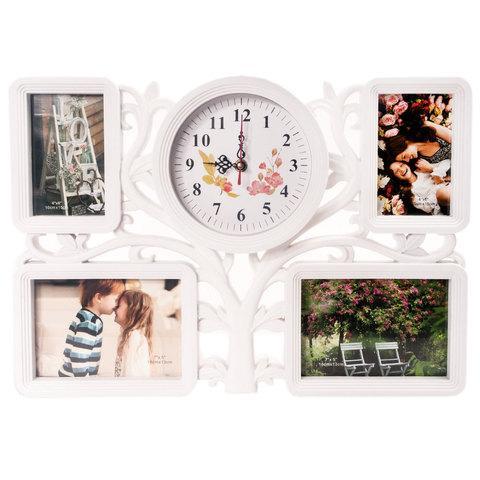 Фоторамка составная с часами «Время романтики» [4 фото] (Белый)