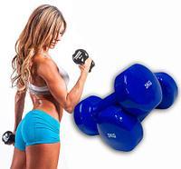 Гантели с виниловым покрытием для фитнеса {пара} (3 кг)