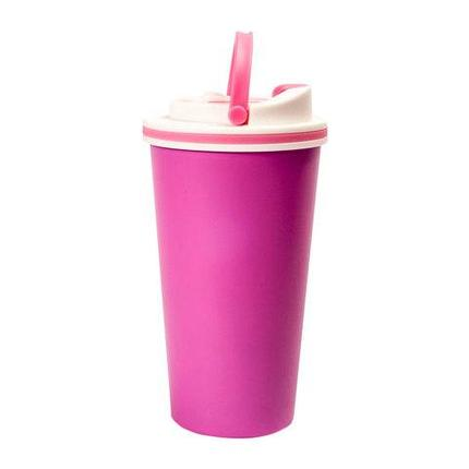 Термокружка латте с ручкой для переноски I Love Dream Free (Розовый), фото 2