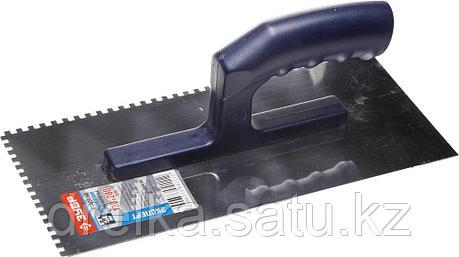 Гладилка ЗУБР нержавеющая с пластиковой ручкой, зубчатая, 4х4мм, фото 2