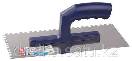 Гладилка ЗУБР нержавеющая с пластиковой ручкой, зубчатая, 6х6мм, фото 2
