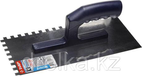 Гладилка ЗУБР нержавеющая с пластиковой ручкой, зубчатая, 8х8мм, фото 2