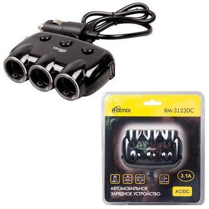 Тройник для автомобильной розетки RITMIX RM-3123DC black [2 USB-выхода], фото 2