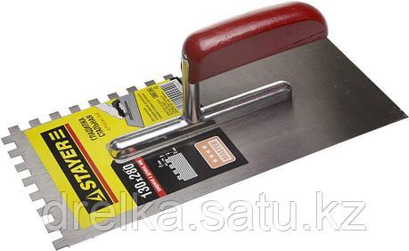 """Гладилка STAYER """"MASTER"""" стальная с деревянной ручкой, зубчатая, 8х8мм, фото 2"""