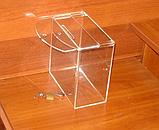 Ящик для пожертвований 200х103х200 Материал акрил 3мм прозрачное предусмотрено ушко для навесн, фото 3