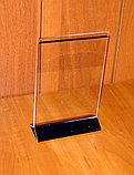 Менюхолдер тейбл тент А5 вертикальный с черным основанием, фото 3