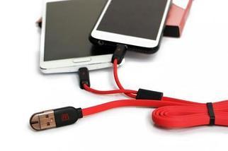 Кабель USB для зарядки и синхронизации 2-в-1 Remax RC-025t для iPhone, iPad  + microUSB, фото 3