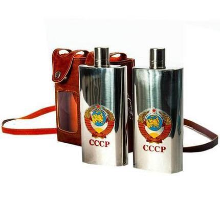 Подарочный набор: две фляги по 310 мл. в кожаном чехле «СССР» FH-11, фото 2