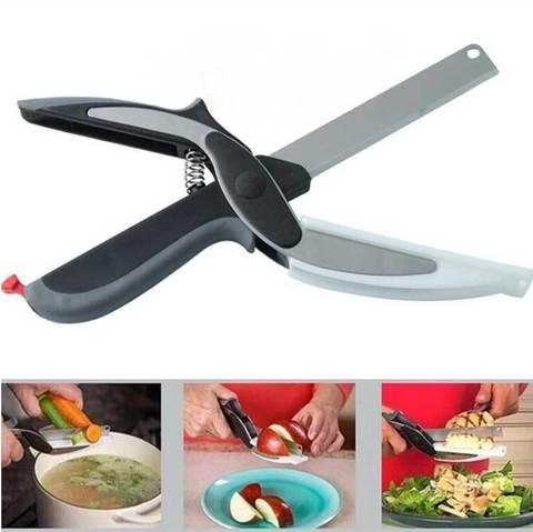 Нож-ножницы с разделочной доской 2-в-1 SMART CUTTER
