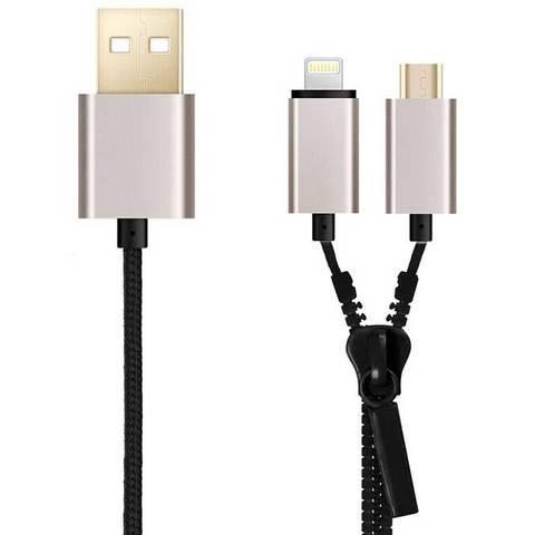 USB-кабель универсальный для зарядки и передачи данных Lightning+microUSB ZIPPER