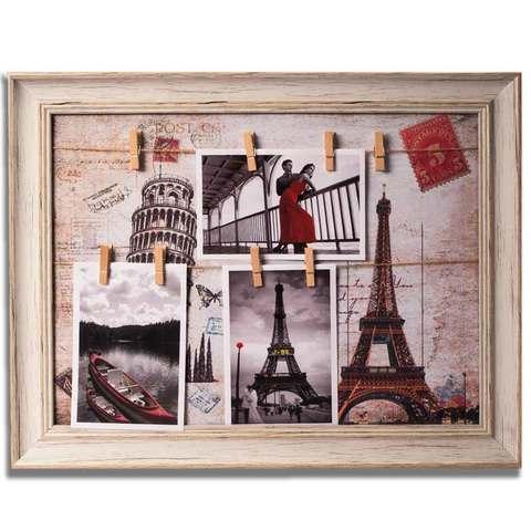 Фотоколлаж с прищепками в картинном багете «Прогулка в Париже» 36х46см 78034