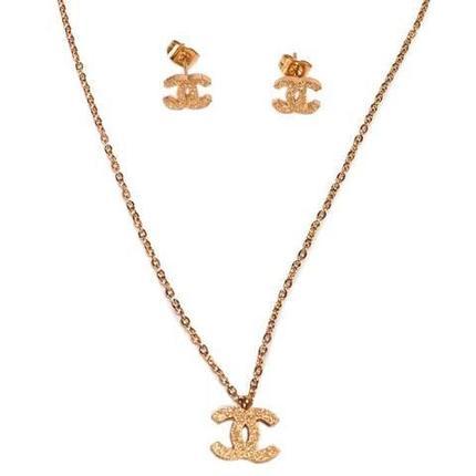 Комплект «Шанель в золоте» цепочка и серьги, фото 2
