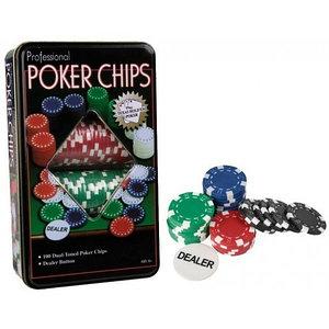 Набор номинальных фишек для покера в жестяной коробке «POKER CHIPS» [100 шт. + кнопка дилера]