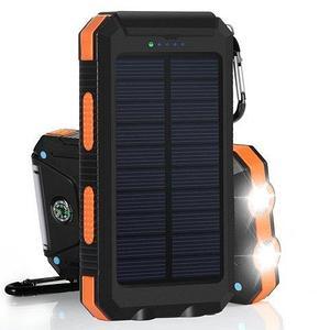 Внешний аккумулятор водонепроницаемый Powerbank Solar Charger на солнечных батареях 3 в 1 [20000 мАч; компас;
