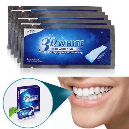 Полоски для отбеливания зубов 3D WHITE Teeth Whitening Strips [14 блистеров по 2 полоски], фото 2