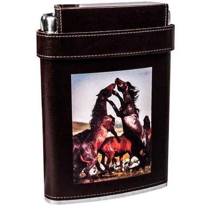 Фляжка плоская в кожаном чехле с тремя стопками «Stainless steel» [540 мл], фото 2