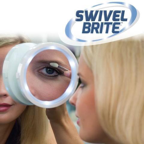 Зеркало с увеличением и подсветкой на вакуумной присоске SWIVEL BRITE