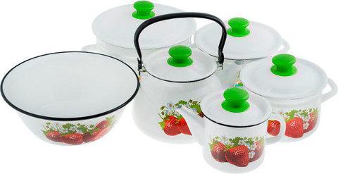 Набор кухонной эмалированной посуды «Набор дачника» [11 предметов]