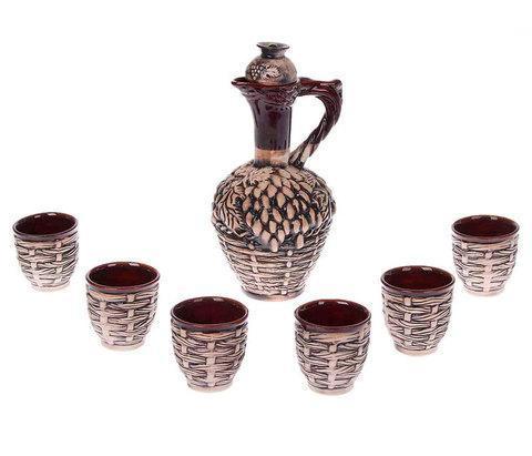 Штоф керамический с рюмками «Плетеный кувшин» [7 предметов], фото 2