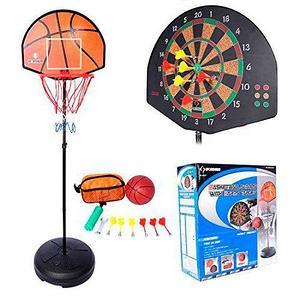 Игровой набор с баскетбольным кольцом-дартс  на стойке BASKETBALL STANDS WITH DARTS TARGET